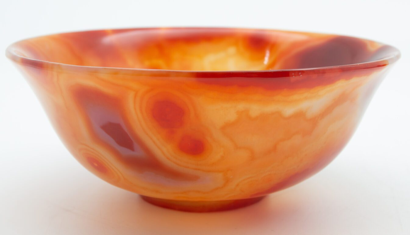 Hand Carved Orange Agate Semi-Precious Stone Bowl