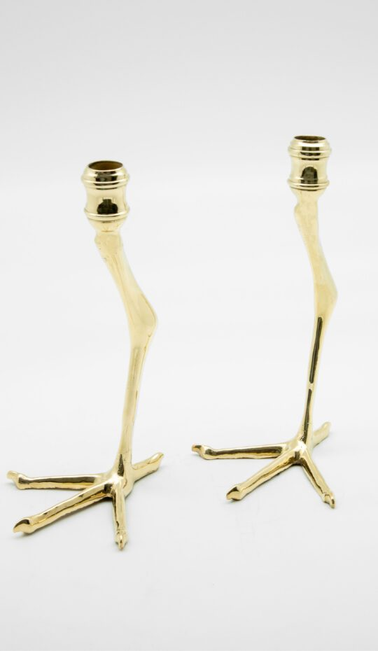 Creel and Gow Small Brass Tingis Bird foot Candlesticks, Pair