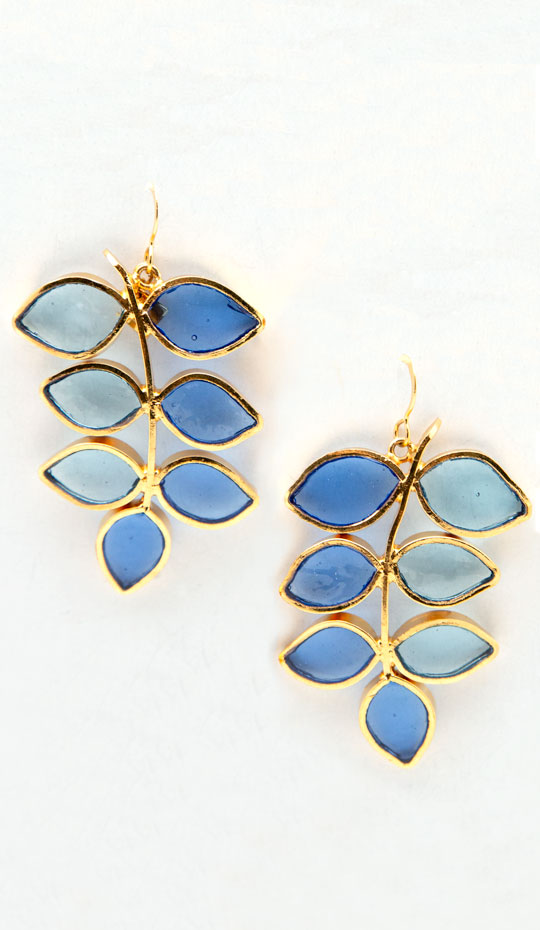 Loulou de la Falaise Pâte de Verre Leaf Earrings II