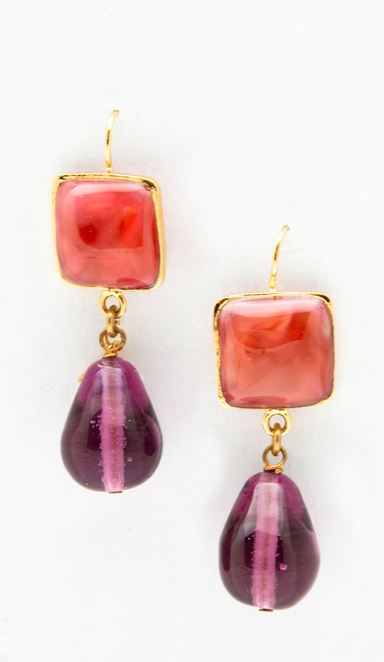 Loulou de La Falaise red and purple earrings