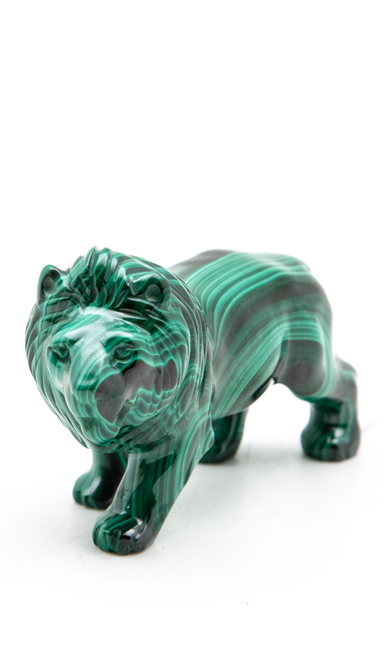 Malachite Lion Carving, Small