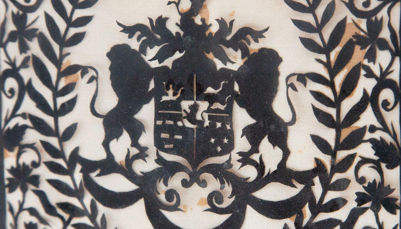 Zoom on Framed Hand Cut Heraldic Shield Design