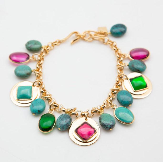Lou Lou De La Falaise Sequin and Turquoise Bracelet