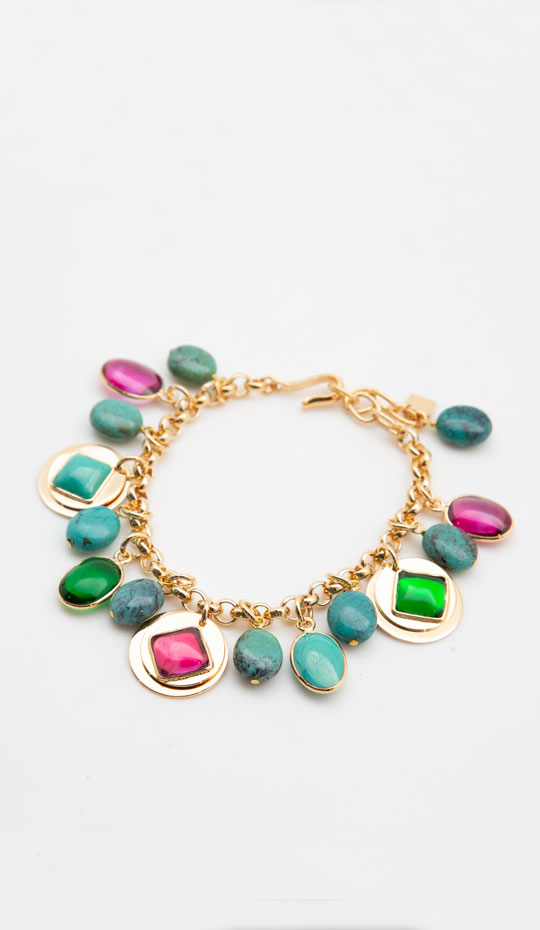 Loulou de la Falaise Gold Plated and Pâte de Verre Sequin and Turquoise Bracelet