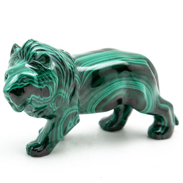 Small malachite lion carving colored in black and green