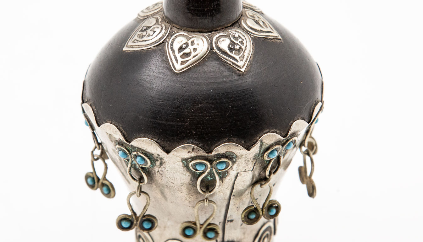 Turkmenistan Silver and Turquoise Hair comb
