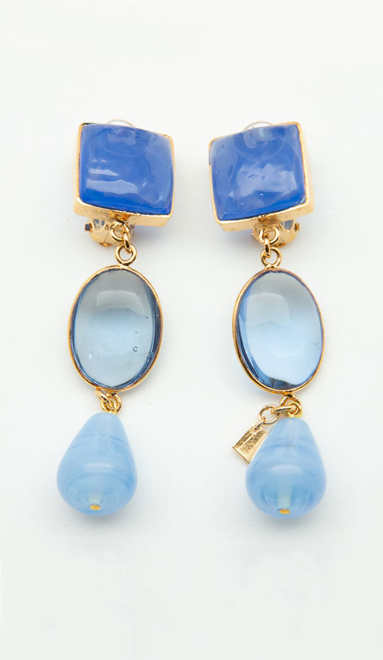 Loulou de la Falaise Pavé  Pebble & Drop Clip Earrings