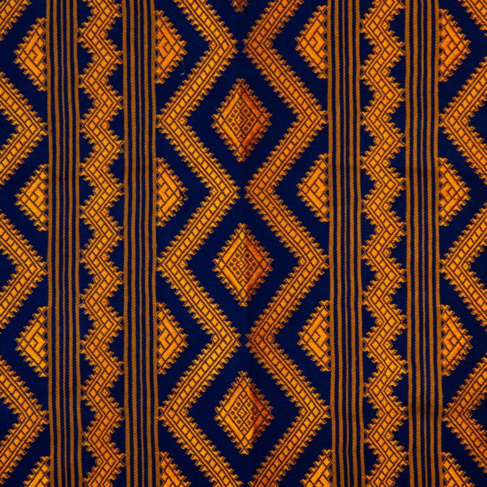 Bhutanese Silk Woven Kira Textile, Purple and Orange