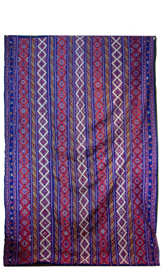 Bhutanese Silk Woven Kira Textile, Purple, Orange and White on Blue