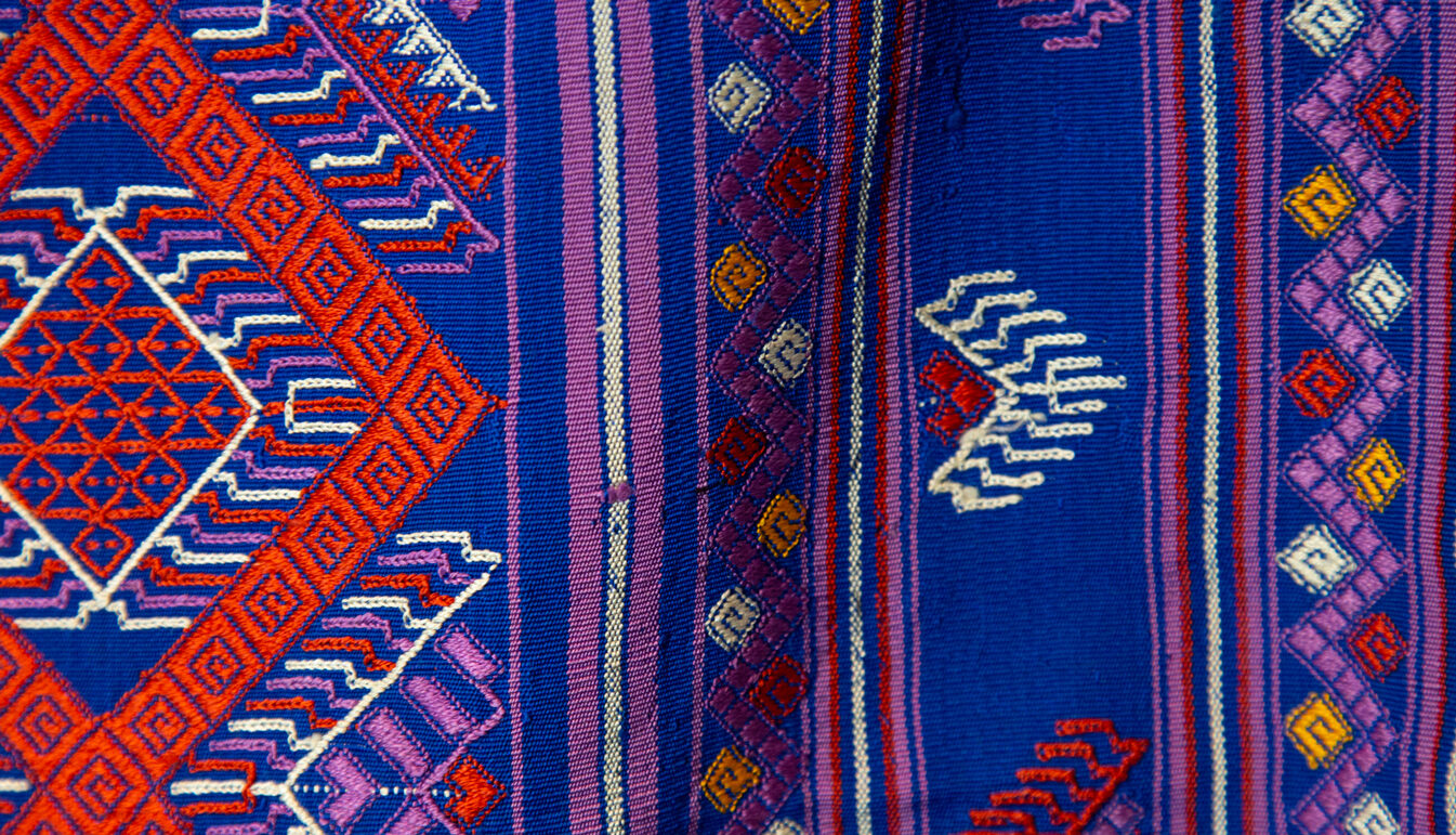 Bhutanese Silk Woven Kira Textile, Purple, Orange and White on Blue