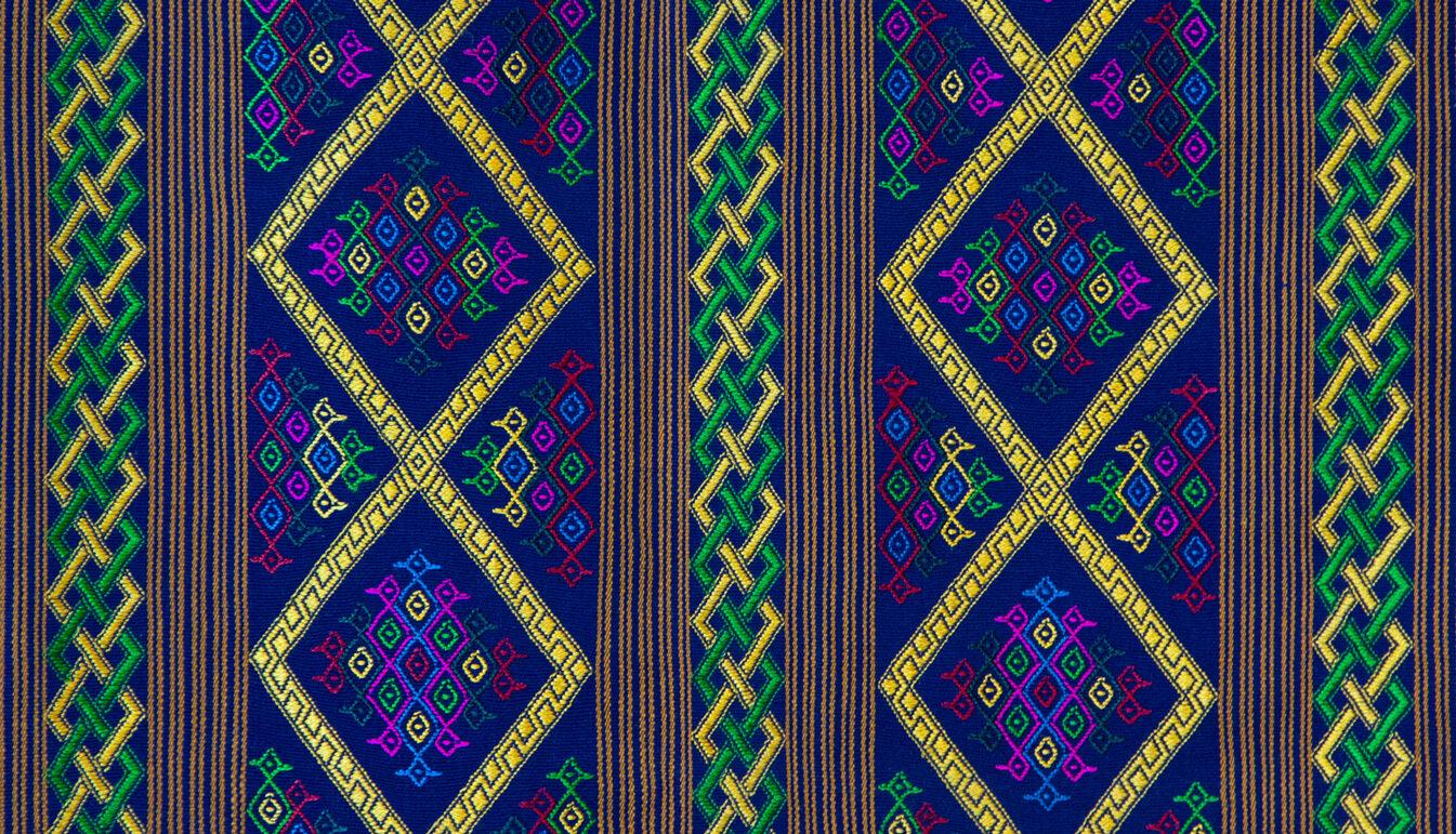 Bhutanese Silk Woven Kira Textile, Yellow, Green, and Pink on Blue