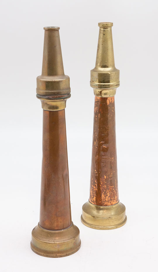 Pair of Brass and Copper Vintage Fire Hose Nozzles - 16 inch
