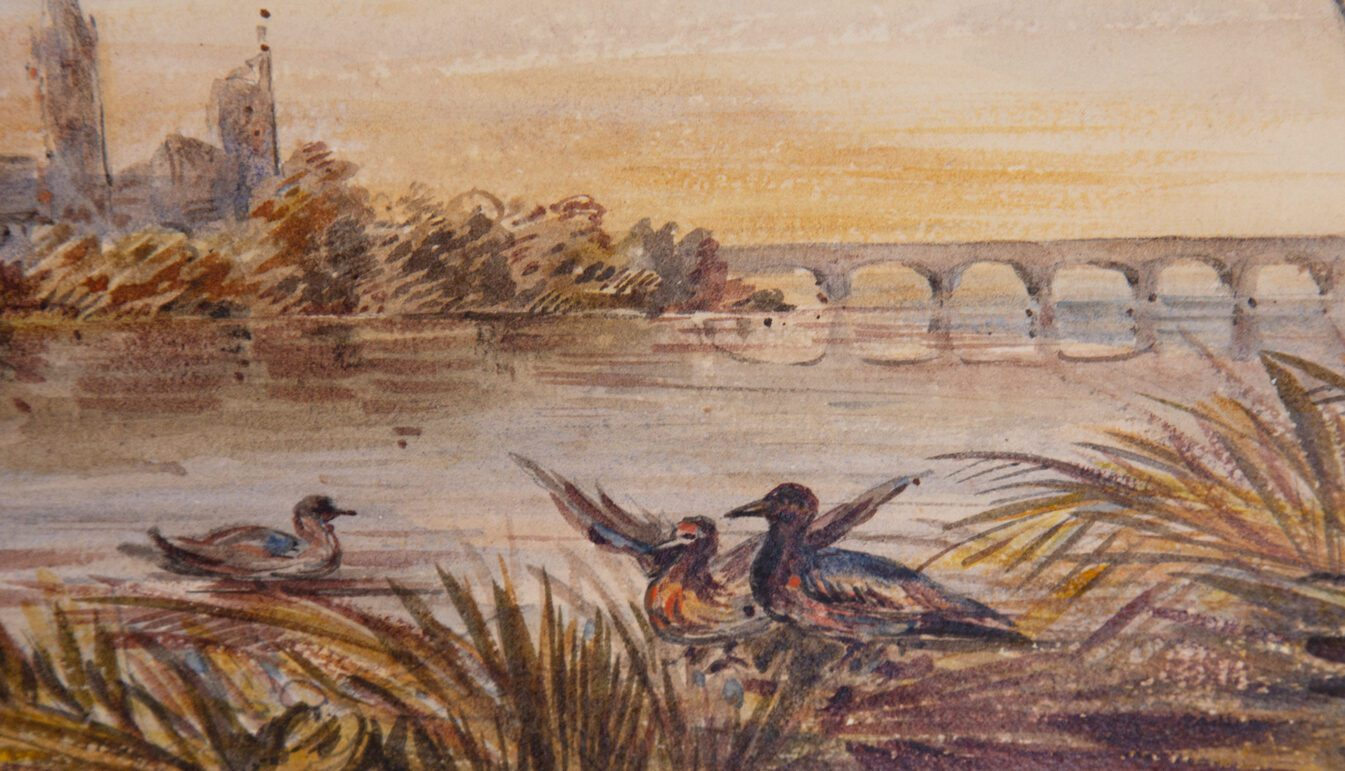 19th Century Édouard Quesnel Watercolor of Water Scene with Ducks
