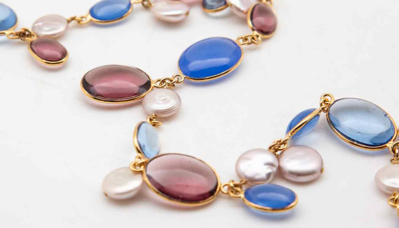 Gold and Pate de Verre and pearl necklace with blue and purple with white pearls